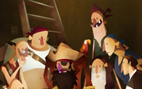 mark bird illustration, secret treasure, pirate captain and his crew