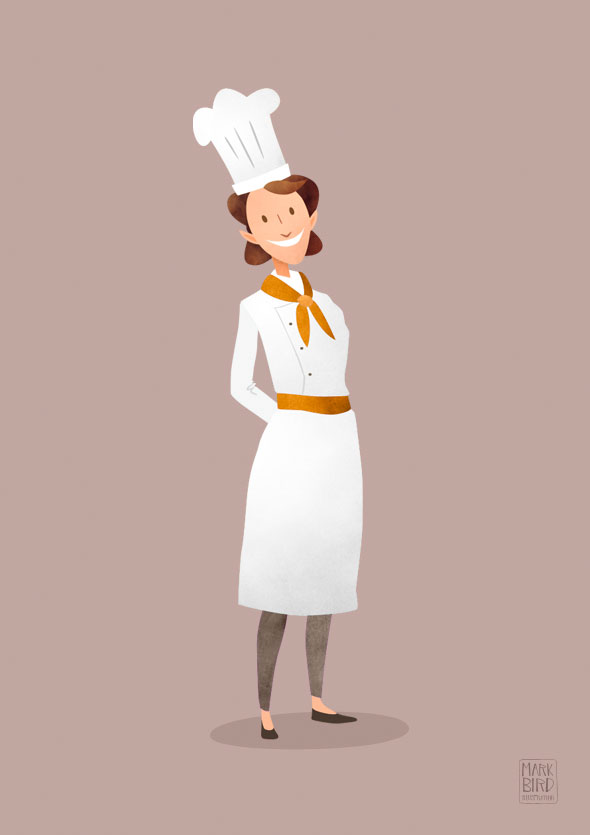 Kilogramme Chef Character | Mark Bird Illustration - First of three character design illustrations for an advertising animation for Kilogramme studios.