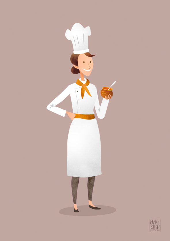 Kilogramme Chef Character | Mark Bird Illustration - Last of three character design illustrations for an advertising animation for Kilogramme studios.