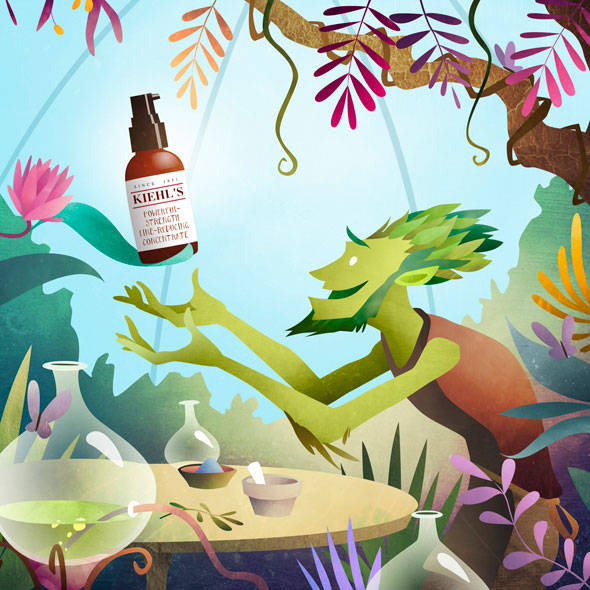 Kiehl's | Mark Bird Illustration - Editorial illustration for Kiehl's artfully made campaign featuring their strength line reducing concentrate.