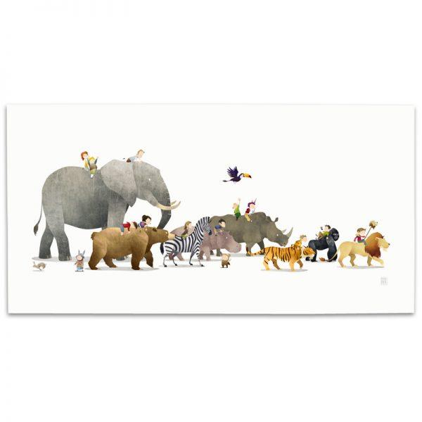 Nursery Animal Illustration, Nursery Decor, Wall Art Prints, Childrens Art, Wild Adventure, Mark Bird Illustration, Elephant, Bear, Lion, Tiger, Zebra, Hippo, Gorilla, Toucan, Rhino