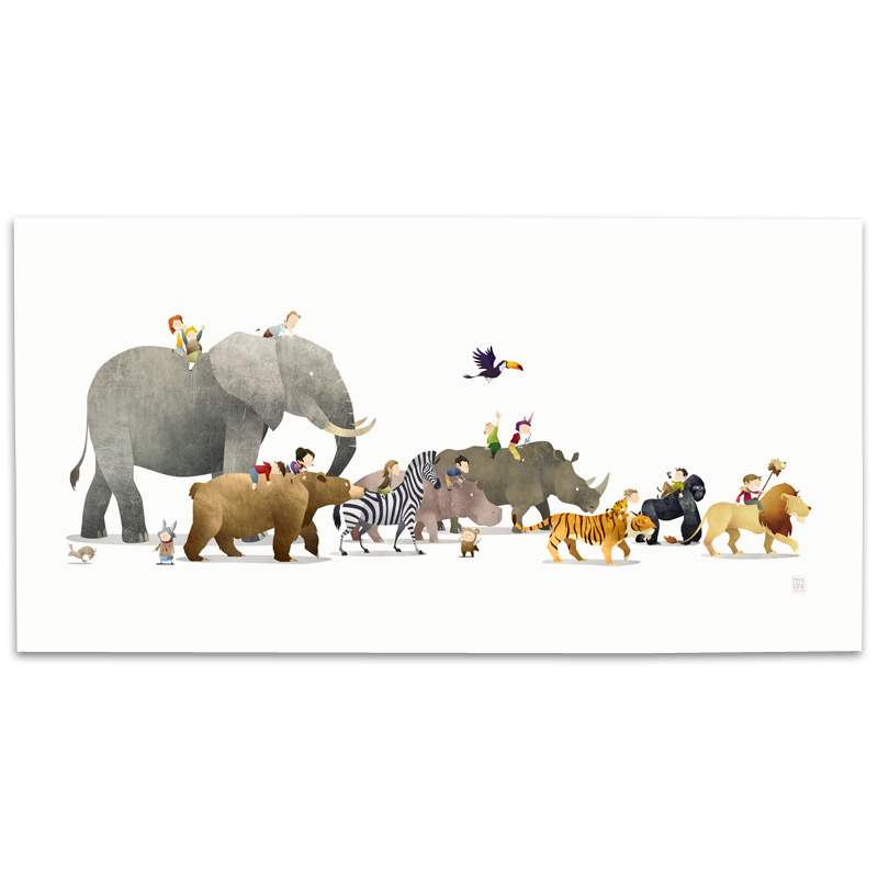 Nursery Animal Illustration, Nursery Decor, Wall Art Prints, Childrens Art, Wild Adventure, Mark Bird Illustration, Elephant, Bear, Lion, Tiger, Zebra, Hippo, Gorilla, Toucan, Rhino