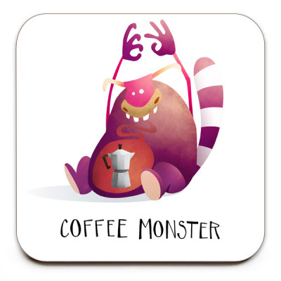 Coffee-Monster-No.1-Coaster-Mark-Bird-Illustration