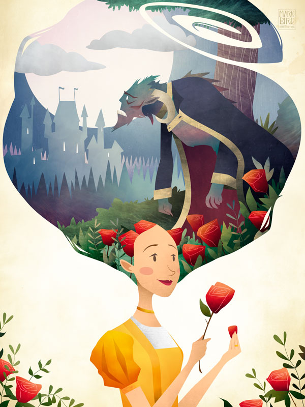 Beauty and The Beast | Mark Bird Illustration - Children's fairy tale princess Illustration of Beauty and the Beast in the rose garden.