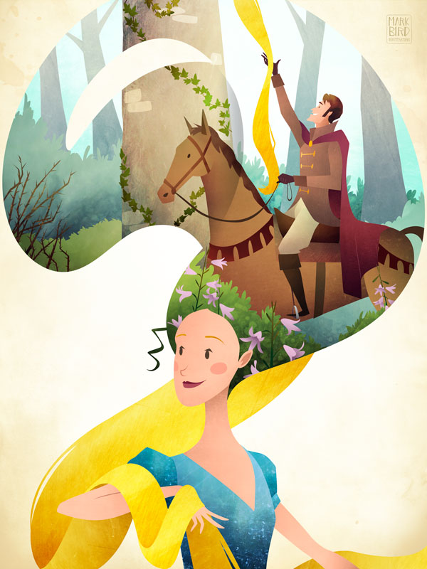 Rapunzel | Mark Bird Illustration - Children's fairy tale princess Illustration with prince charming climbing Rapunzel's long golden hair to the tower.