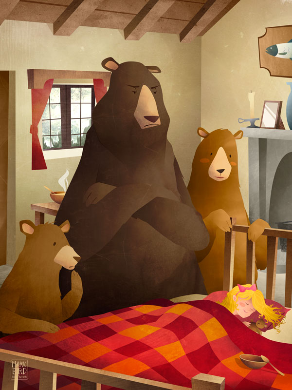 Goldilocks And The Three Bears, Illustration Project, Fairy Tale art for Children by Mark Bird, Goldilocks caught sleeping in little bears bed with empty porridge bowl.
