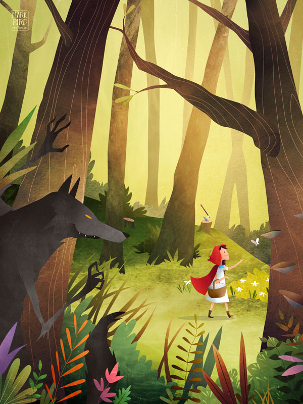 Red Riding Hood | Mark Bird Illustration - Children's fairy tale Illustration of the big bad wolf following Little Red Cap through the forest to grandma's house.