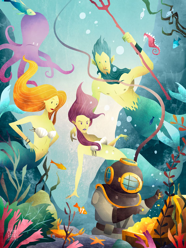 Deep Sea Diver | Mark Bird Illustration - Children's illustration of a Deep Sea Diver discovering sunken treasure, surrounded by mermaids and fish.
