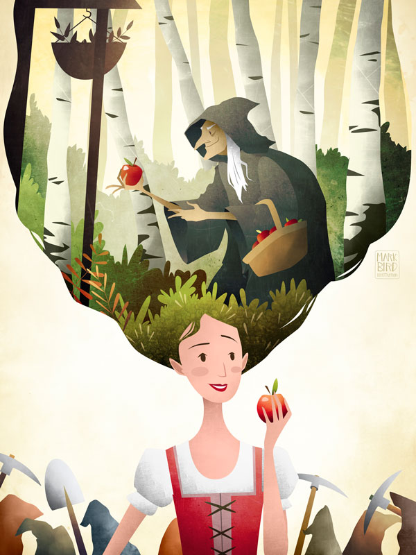 Snow White | Mark Bird Illustration - Children's fairy tale princess Illustration of Snow White and seven dwarfs with wicked stepmother offering posioned apple in the forest.