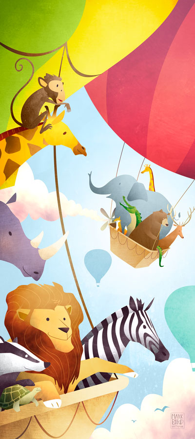 The Great Animal Ballon Race | Mark Bird Illustration - Children's hot air balloon book Illustration with lion, zebra, giraffe, bear, badger, monkey, tortoise, rhino, deer, fox, elephant and crocodile.