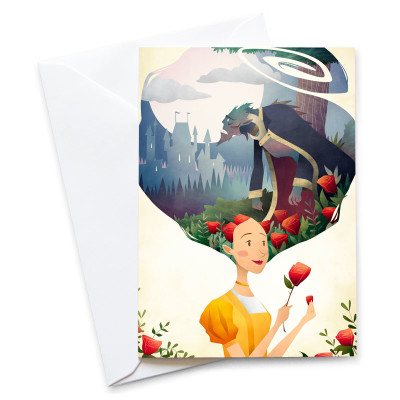 Beauty-And-The-Beast-Card-Mark-Bird-Illustration