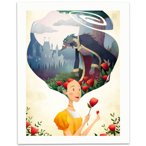 Beauty-And-The-Beast-Print-Mark-Bird-Illustration