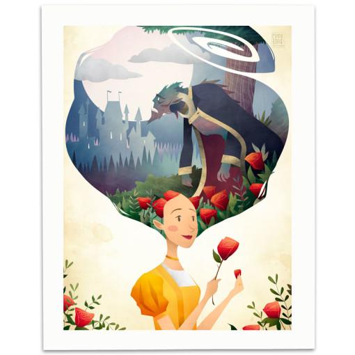 Beauty-And-The-Beast-Print-Mark-Bird-Illustration