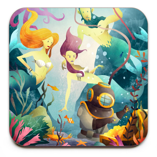 Deep-Sea-Diver-Coaster-Mark-Bird-Illustration