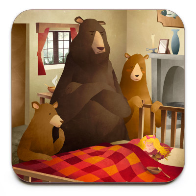 Goldilocks-And-The-Three-Bears-Coaster-Mark-Bird-Illustration