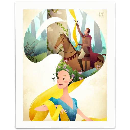 Rapunzel-Print-Mark-Bird-Illustration