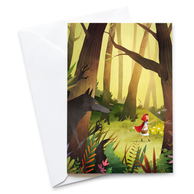 Red-Riding-Hood-Card-Mark-Bird-Illustration