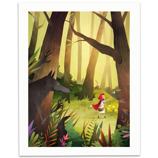 Red-Riding-Hood-Print-Mark-Bird-Illustration
