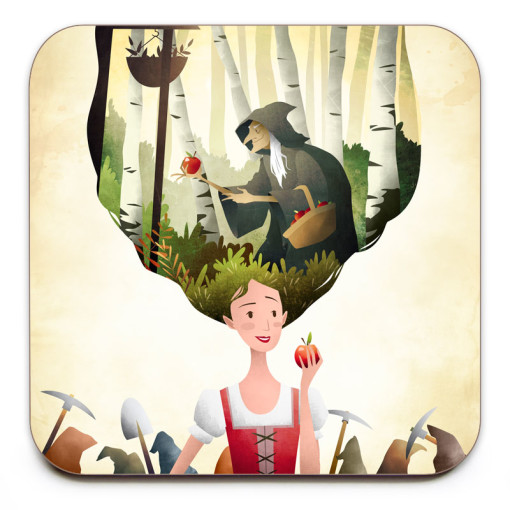Snow-White-Coaster-Mark-Bird-Illustration