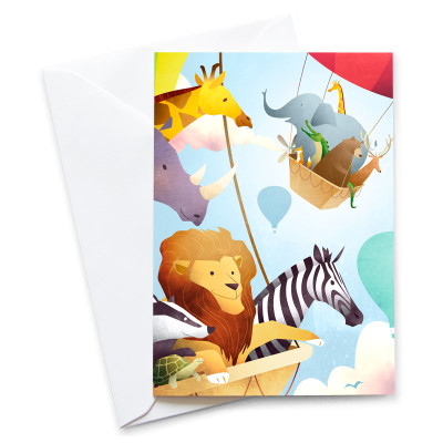 The-Great-Animal-Balloon-Race-Card-Mark-Bird-Illustration
