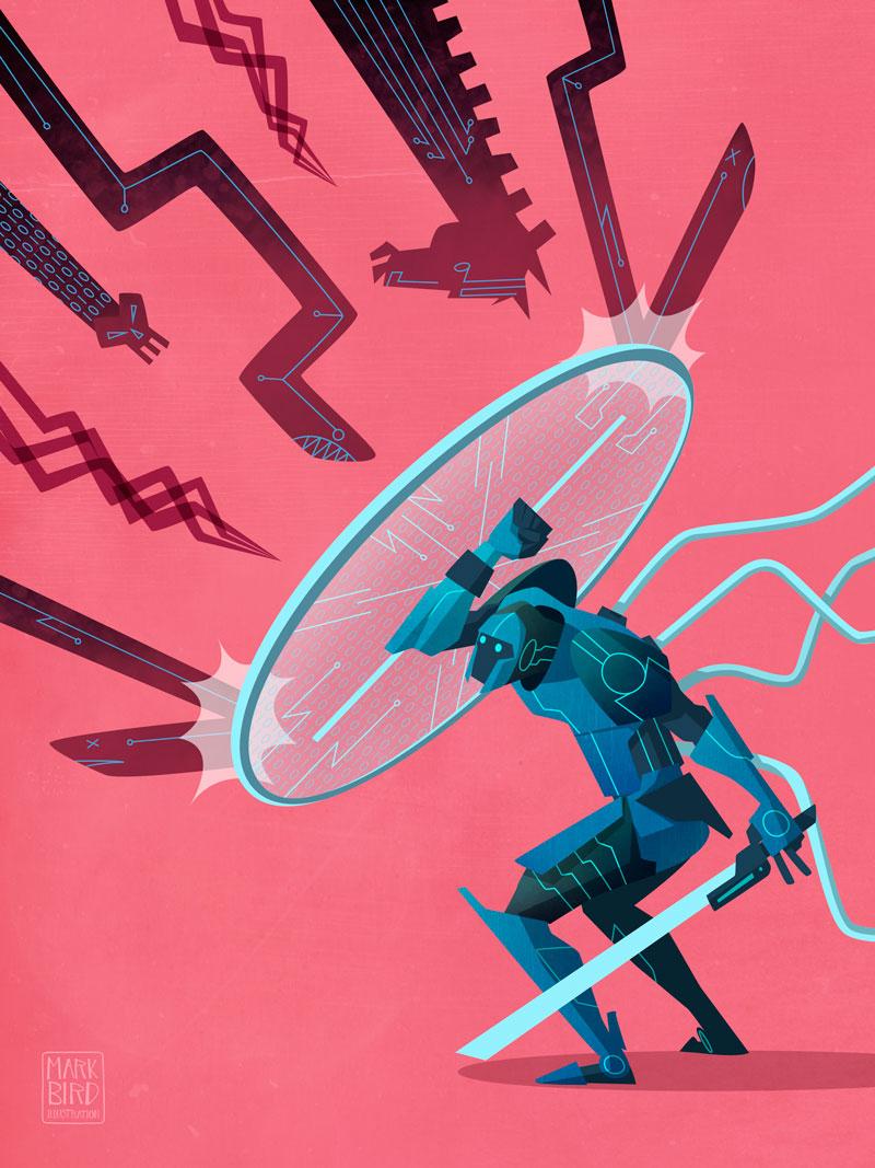 Defense Against Cyber Attacks - Editorial Illustration
