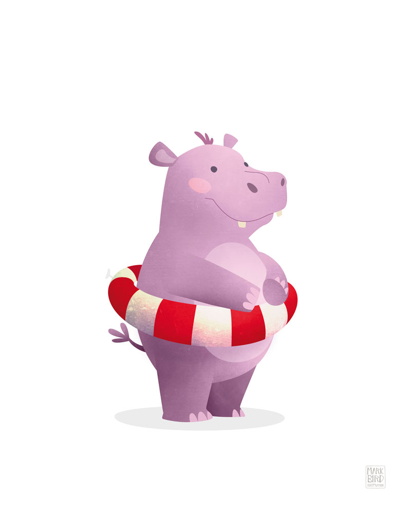 Nursery Hippo - Children's Print Illustration