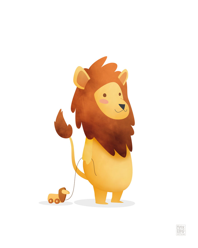 Nursery Lion - Children's Print Illustration
