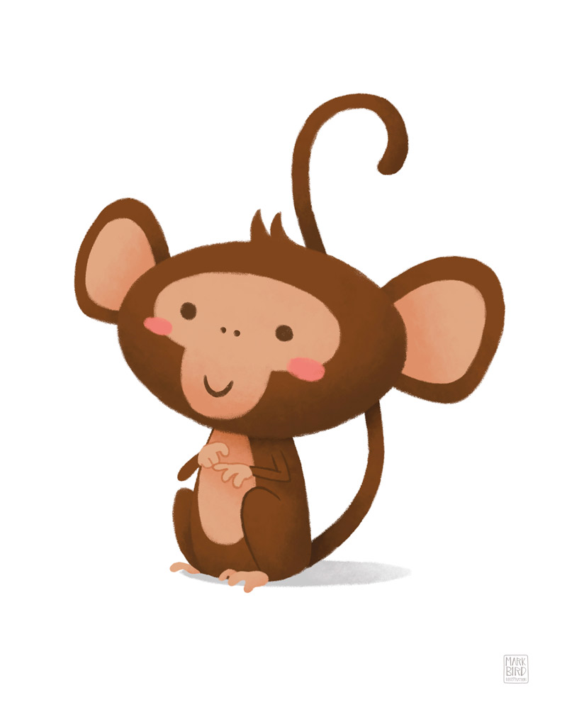 Little Monkey - Children's Print Illustration